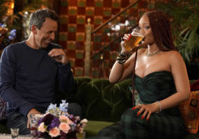 """LATE NIGHT WITH SETH MEYERS -- Episode 851 -- Pictured: (l-r) Host Seth Meyers and singer Rihanna during """"Seth and Rihanna Go Day Drinking"""" on June 20, 2019 -- (Photo by: Jon Pack/NBC/NBCU Photo Bank via Getty Images)"""
